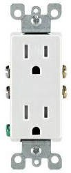 15 Amp Self Grounding Tamper Resistant (TR) Decora Receptacle Outlet, Almond