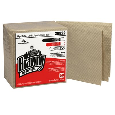 Brown, 50 Count 3-Ply Quarterfold Paper Wipers-13 x 13