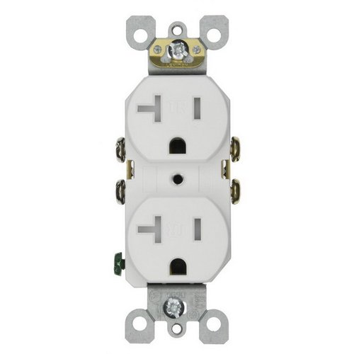 20A Tamper Resistant Duplex Receptacle Outlet, White