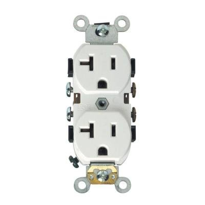 20 Amp Weather Resistant Duplex Receptacle Outlet, White