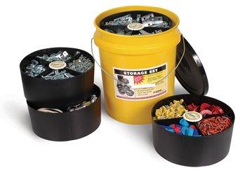 Yellow Storage Organizer Bucket w/ 2 Large & 2 Small Black Tray
