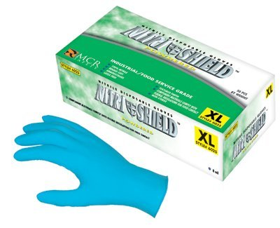 Large 8 Mil Blue Beaded Disposable Nitrile Gloves
