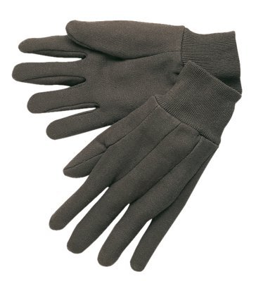 Small Brown Knit Wrist Cotton Jersey Gloves