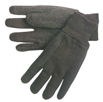 Large Brown Knit Wrist Cotton Jersey Gloves