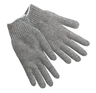 Gray 7 Gauge Cotton/Polyester String Knit Gloves