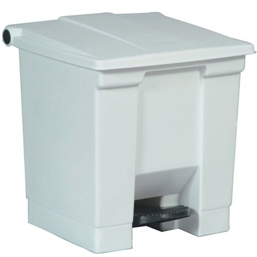 White Plastic Fire-Safe Step-On 8 Gal Receptacle