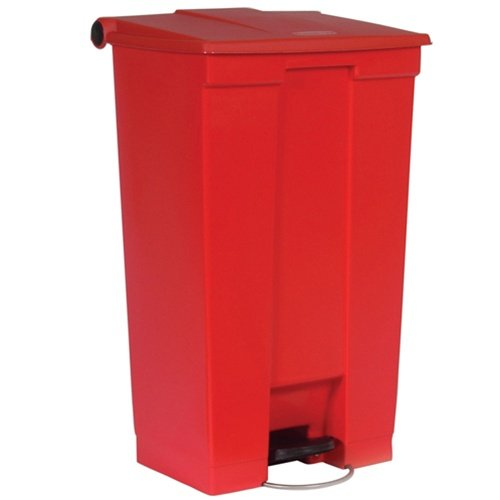 Red Plastic Fire-Safe Step-On 23 Gal Receptacle