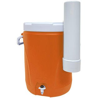 Orange 5 Gallon Water Cooler with Cup Dispenser