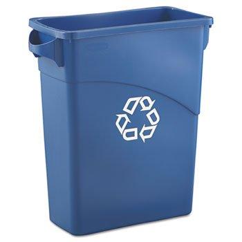 Slim Jim Blue Rectangular 15-7/8 Gal Waste Container