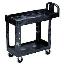 Black Two-Shelf Utility Cart w/ 500 lb Capacity