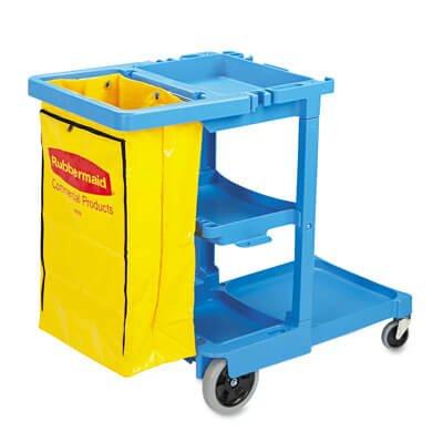 Rubbermaid 617388 Blue Multi Shelf Cleaning Cart 3