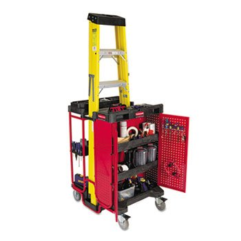 Black/Red 500 lb Capacity Ladder Cart w/ Cabinet