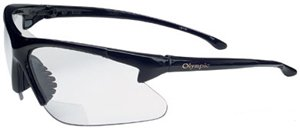 Olympic 1.5 Diopter Safety Glasses with Black Frame and Clear Lens