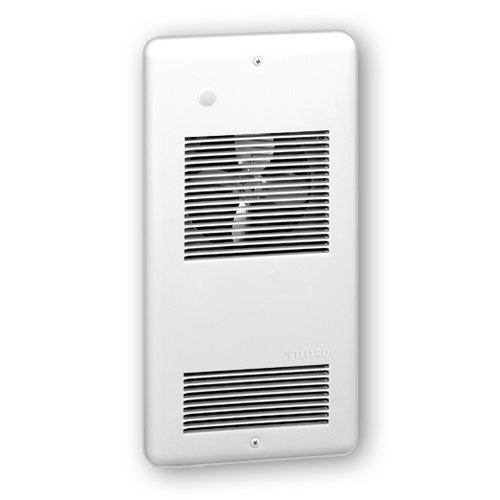 240 V Pulsair Wall Fan Heater with Built in Double Pole Thermostat, Dual Wattage 750/150W, White