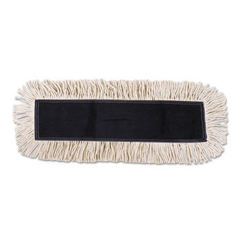 White Disposable Cotton Dust Mop Head w/ Sewn Center Fringe 24X5
