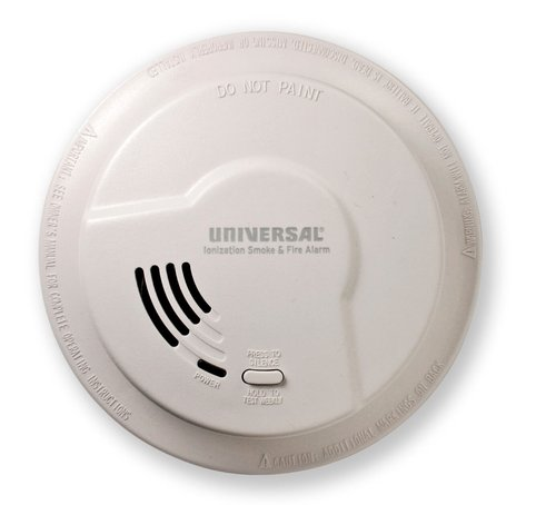 9V Battery Operated Ionization Smoke and Fire Alarm with Large Mounting Ring