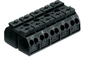 862-Series 5-Pole Terminal Block For Chassis Mounting, Black