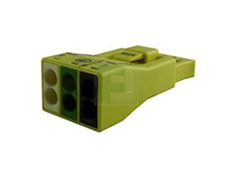 """3-Pole Luminaire Disconnect Pushwire Connector w/ """"Make First/Break Last"""" Ground Circuit"""
