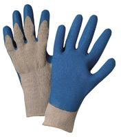 Medium Blue/Gray Latex Coated Cotton Gloves