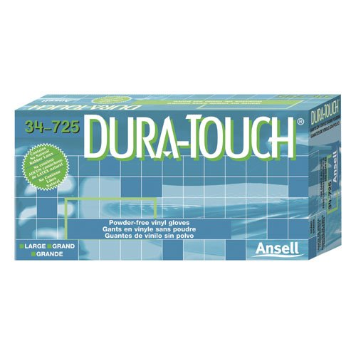 Ansell 34725L Dura-Touch Powdered-Free Disposable Vinyl Gloves, Large
