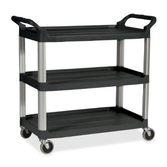 Platinum 3-Shelf Utility Cart w/ Brushed Aluminum Uprights