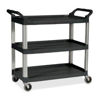Platinum 3-Shelf Utility Cart w/ Brushed Aluminum Uprights