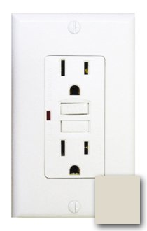 15 Amp GFCI Receptacle Outlet w/ LED, Almond