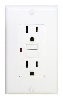 15 Amp GFCI Receptacle Outlet w/ LED, White