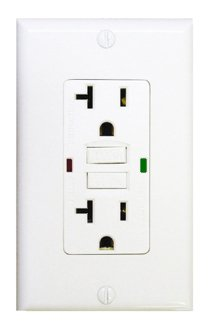 20 Amp GFCI Receptacle Outlet w/ 2-LED, White