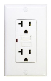 20 Amp GFCI Receptacle Outlet w/ LED, White