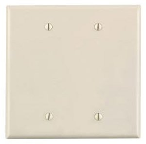 2-Gang Blank Plastic Wall Plate, Almond
