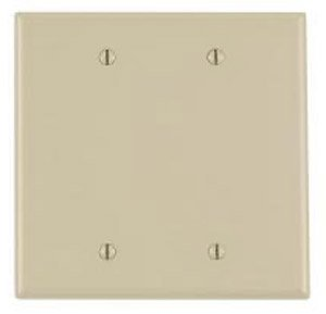 2-Gang Blank Plastic Wall Plate, Ivory