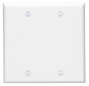 2-Gang Blank Plastic Wall Plate, White