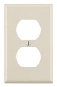 1-Gang Plastic Duplex Receptacle Wall Plate, Almond