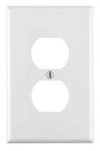 1-Gang Plastic Duplex Receptacle Wall Plate, White