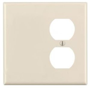 2-Gang Plastic Receptacle & Blank Wall Plate, Almond