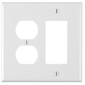 2-Gang Receptacles & Decorative Switch Wall Plate Combo, White