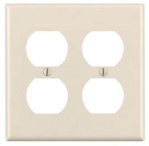 2-Gang Plastic Duplex Receptacle Wall Plate, Almond