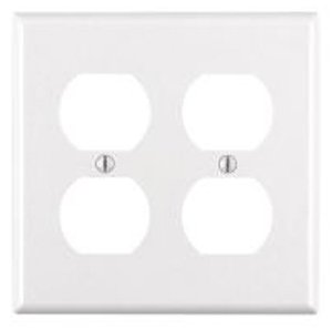 2-Gang Plastic Duplex Receptacle Wall Plate, White