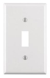 1-Gang Plastic Toggle Switch Wall Plate, White
