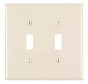 2-Gang Plastic Toggle Switch Wall Plate, Almond