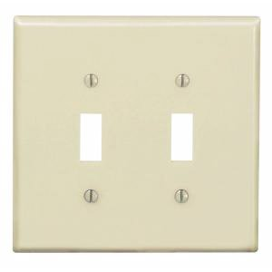 2-Gang Plastic Toggle Switch Wall Plate, Ivory