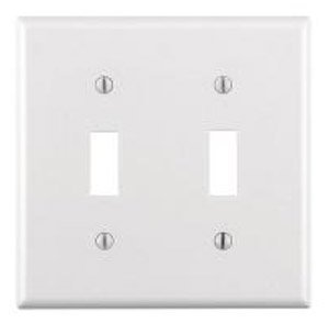 2-Gang Plastic Toggle Switch Wall Plate, White