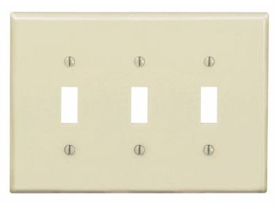 3-Gang Plastic Toggle Switch Wall Plate, Ivory