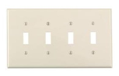 4-Gang Plastic Toggle Switch Wall Plate, Almond