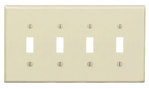 4-Gang Plastic Toggle Switch Wall Plate, Ivory