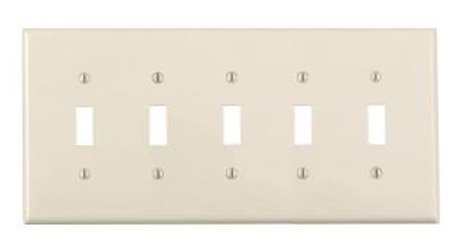 5-Gang Plastic Toggle Switch Wall Plate, Almond