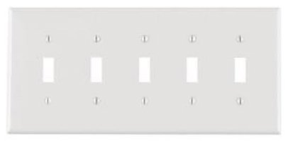 5-Gang Plastic Toggle Switch Wall Plate, White
