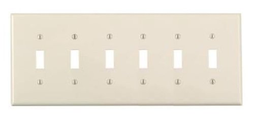 6-Gang Plastic Toggle Switch Wall Plate, Almond