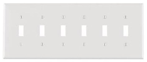 6-Gang Plastic Toggle Switch Wall Plate, White